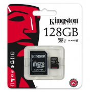 Карта памяти Kingston MicroSD 128Gb Class10 SDXC-I + SD адаптер